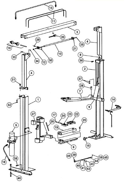 parts breakdown for rotary lift model spo84  svi
