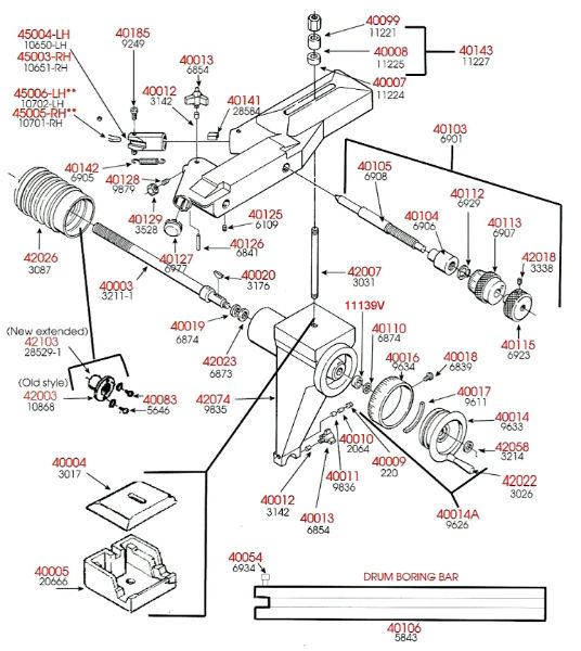 Ammco Brake Lathe >> Brake Lathe Parts Breakdown, Cross Feed Assembly, Ammco 4000 and Rels 2000, Point and Click on ...
